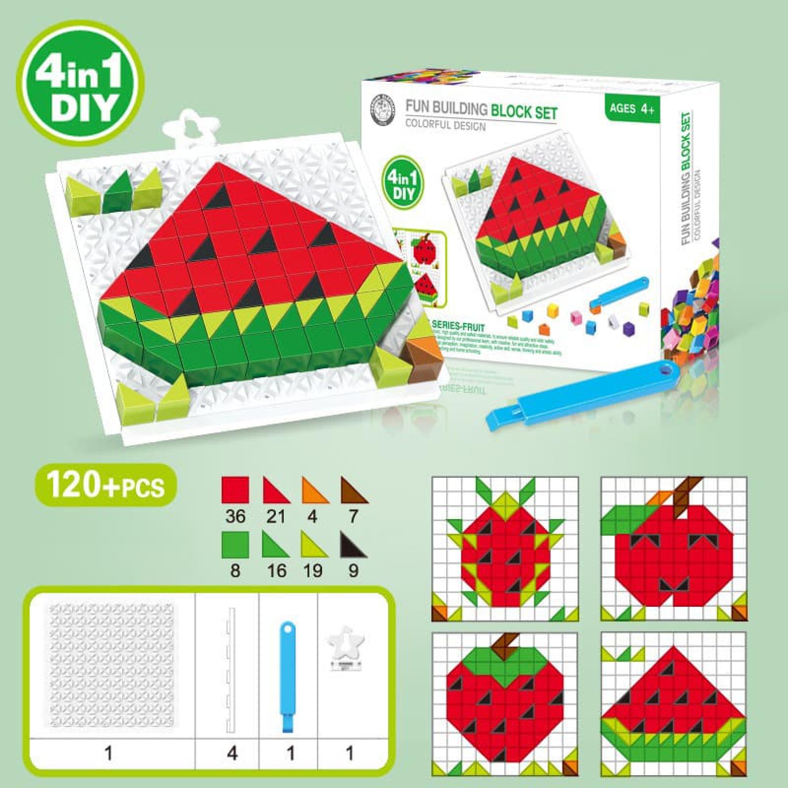 Bộ xếp hình thông minh trái cây 4 in 1 DIY cho bé 023